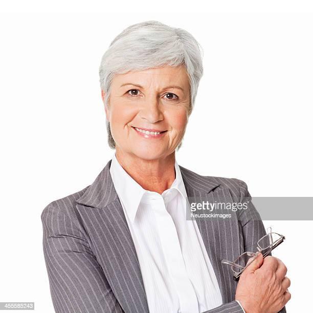Senior Portrait de femme d'affaires-isolé