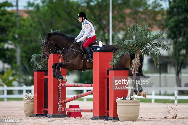 Senior category Isadora Bandoch competes in the horse riding show during the Brazilian Modern Pentathlon Championship 2013 at Olympic Park Deodoro on...