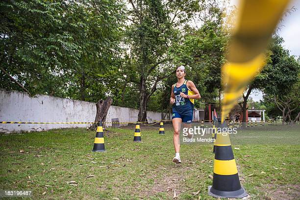 Senior category Larissa Lellys competes in the shooting and running mixed event during the Brazilian Modern Pentathlon Championship 2013 at Olympic...