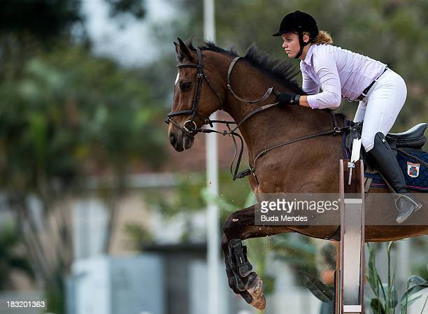 Senior category Mariana Laporte competes in the horse riding show during the Brazilian Modern Pentathlon Championship 2013 at Olympic Park Deodoro on...