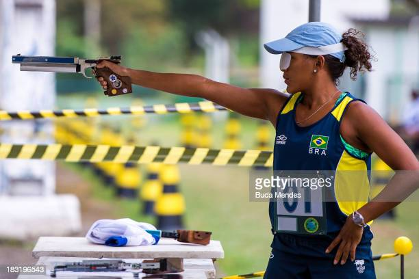 Senior category Priscila Oliveira competes in the shooting and running mixed event during the Brazilian Modern Pentathlon Championship 2013 at...