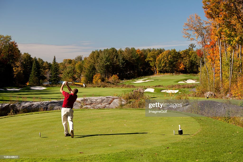 Senior Caucaisan Golfer on the Tee in Fall : Stock Photo