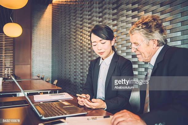 Senior Caucasian Businessman and Young Japanese Entrepreneur, Kyoto, Japan