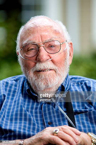 Senior Caucasian Man in his 80s with Oxygen