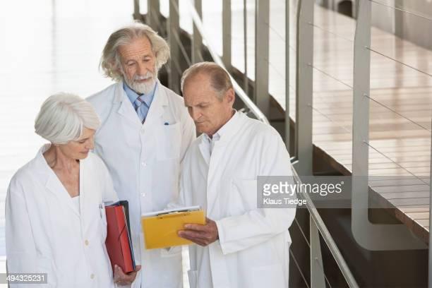 Senior Caucasian scientists talking in office