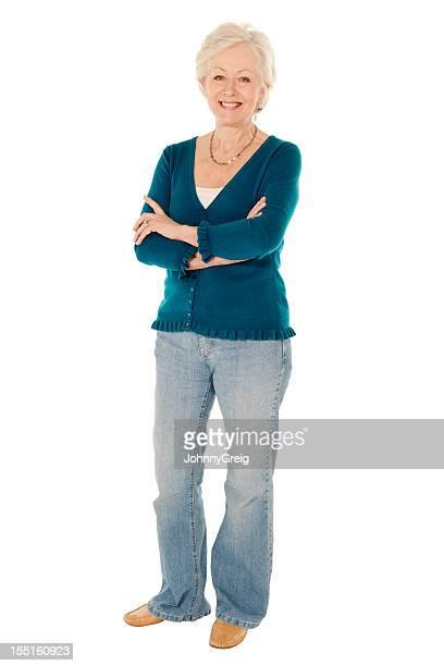 Senior Caucasian woman full length isolated on white