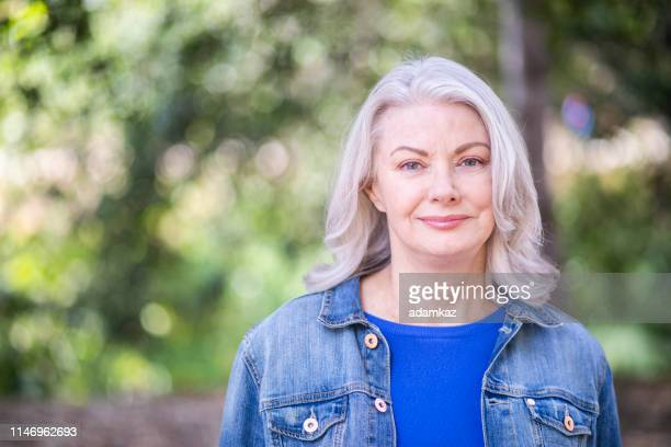 senior caucasian woman with white hair portrait - white hair stock pictures, royalty-free photos & images