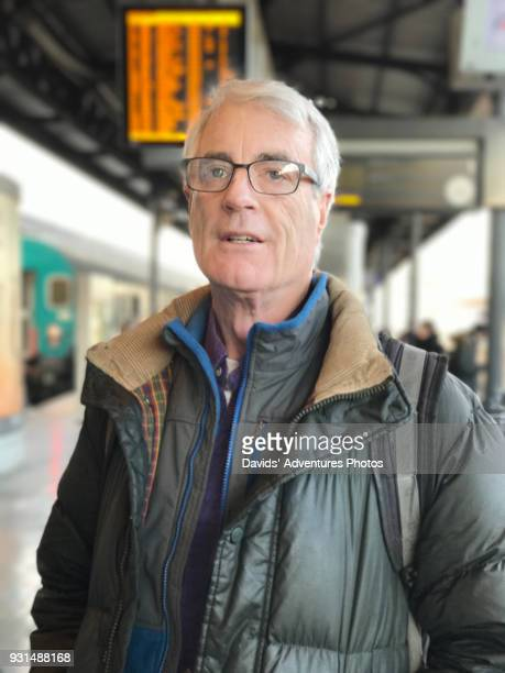 Senior Citizen at Train Platform Looking Confused, Stressed or In a Rush