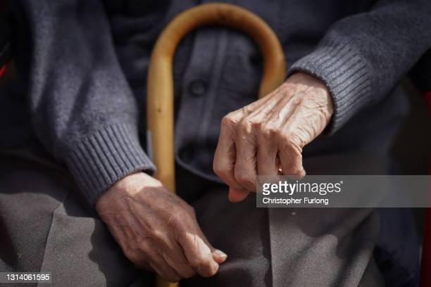 Senior citizen looks on from his chair as Deputy Leader of the Labour Party Angela Rayner and Mayor of Greater Manchester Andy Burnham visit The Fed...