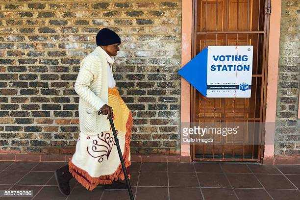 A senior citizen makes her way to a voting station in Zithobeni during the 2016 Local Government Elections on August 03 2016 in Gauteng South Africa...