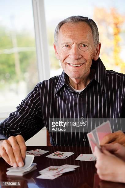 Senior Citizen Man Playing Cards