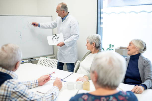 Senior citizens attending public health course