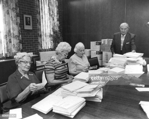 Senior citizens from left Mrs Eva Schreiber 1535 Grant St MrsSara Karsh 850 S Hudson St Mrs Ann Cooper 777 Ash St and Jack Friedman 1663 Steele St...