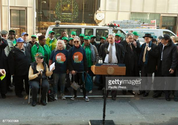 Senior citizens NYC politicians joined for rally against GOP tax bill in front of Trump Tower on 5th Avenue