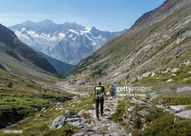 senior climber on a mountain trail - monte rosa foto e immagini stock