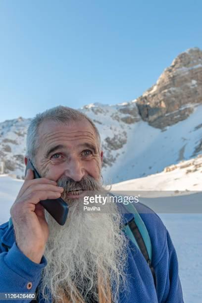 senior climber with long beard telephones, triglav national park, kanin, julian alps, slovenia, europe. - bodhisattva stock pictures, royalty-free photos & images