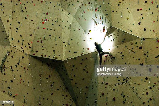 Senior climbing instructor Nick Crawshaw is seen on the wall at The National Climbing Centre for Scotland December 2, 2003 in Edinburgh, Scotland....
