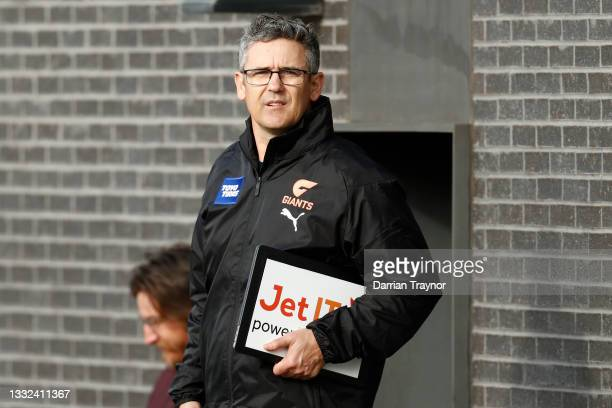 Senior Coach of the Giants, Leon Cameron looks on during a Greater Western Sydney Giants AFL training session at Holden Centre on August 05, 2021 in...