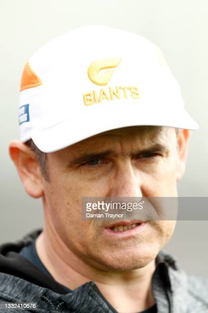 Senior Coach of the Giants, Leon Cameron speaks to the media during a Greater Western Sydney Giants AFL training session at Holden Centre on August...