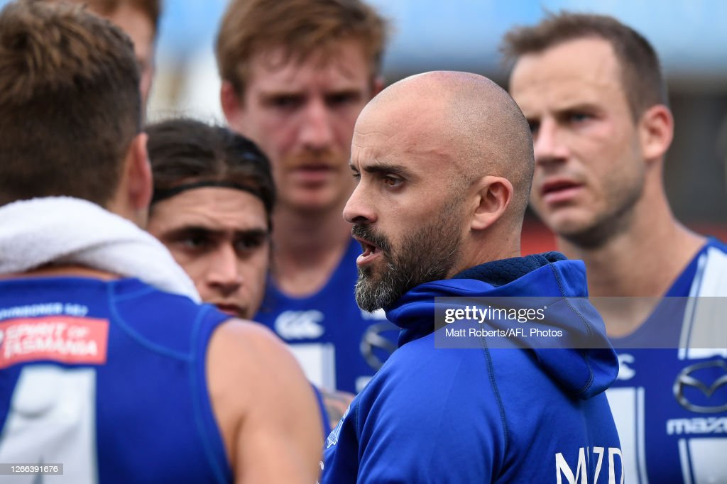 Senior Coach Rhyce Shaw Of The Kangaroos Speaks To His Players During News Photo Getty Images