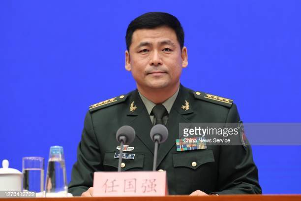 Senior Colonel Ren Guoqiang, spokesman for the Ministry of National Defense, speaks during a news conference held by the State Council Information...