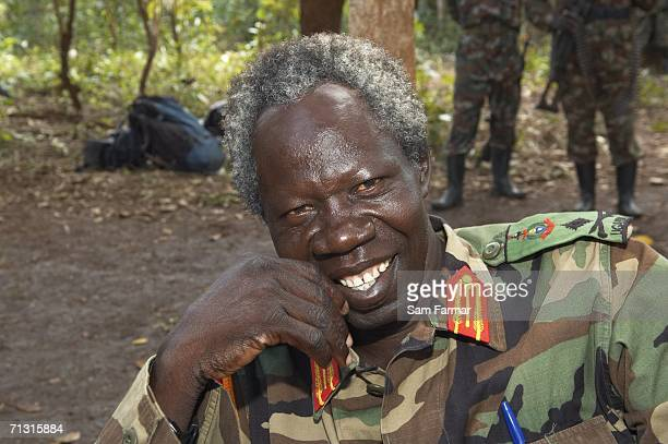 Senior commander of the Ugandan rebel group the Lord's Resistance Army, Vincent Otti laughs during a rare appearance in front of journalists in this...
