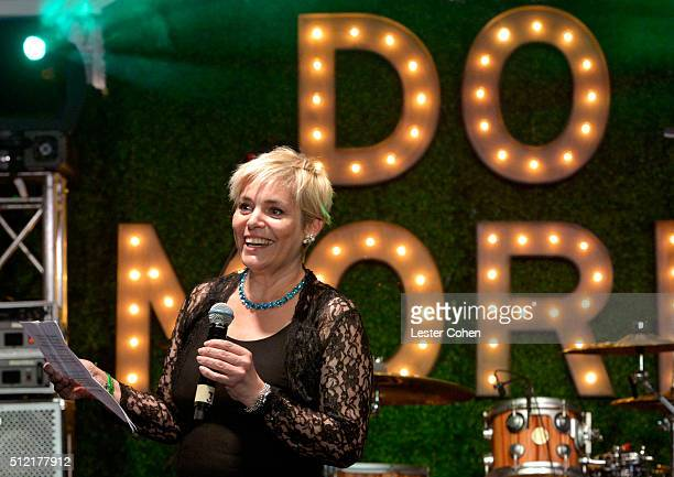 Senior communications officer of the World Bank Lucia Grenna speaks onstage during Global Green USA's 13th annual preOscar party at Mr C Beverly...