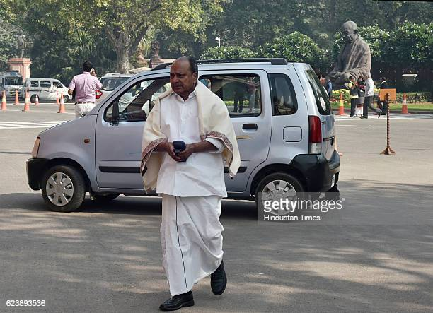 Senior Congress leader AK Antony at Parliament during the Winter Session of Parliament on November 17 2016 in New Delhi India Opposition parties led...