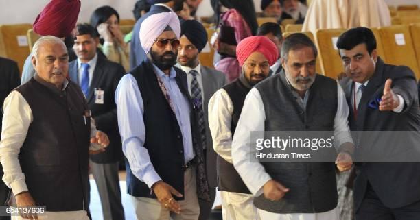 Senior congress leader Anand Sharma Balwant Singh Ramoowalia Rana Gurmeet Singh Sodhi and former Haryana CM Bhupinder Singh Hooda during oath...