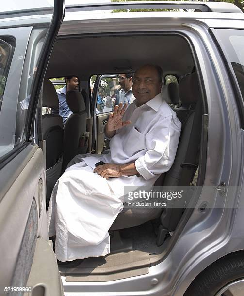 Senior Congress leader and former Defence Minister AK Antony arrives to attend the Parliament Session on April 27 2016 in New Delhi India Seeking to...