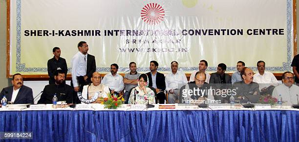 Senior Congress leader Ghulam Nabi Azad Home Minister Rajnath Singh Finance Minister Arun Jaitley JK CM Mehbooba Mufti with others during the...
