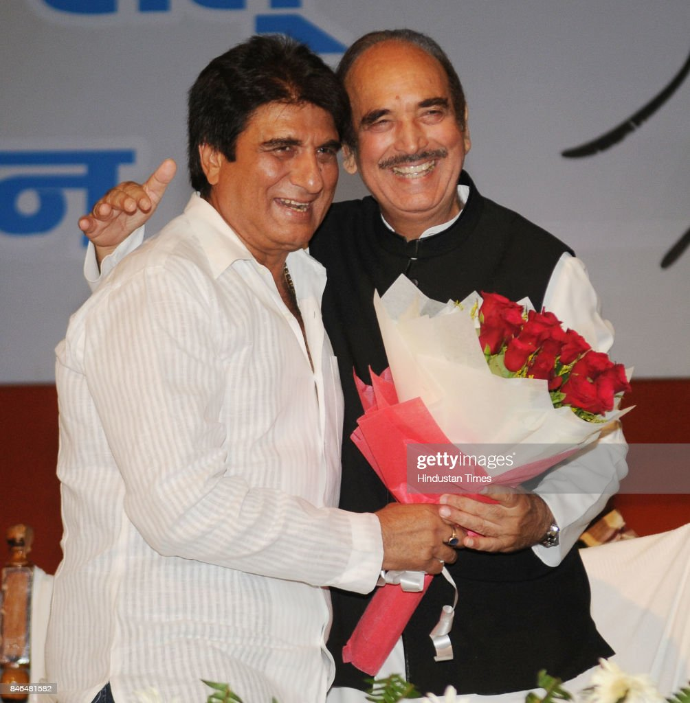 Senior Congress leader Ghulam Nabi Azad with UP Congress President Raj Babbar during the birth centenary celebrations of former Prime Minister Indira Gandhi, on September 13, 2017 in Lucknow, India.