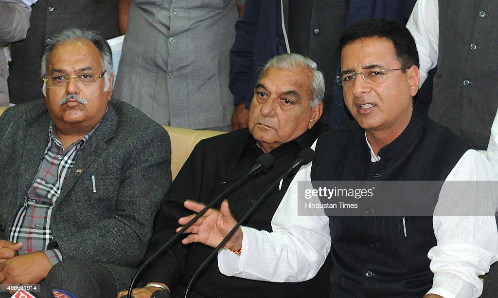 Senior Congress leader Randeep Singh Surjewala Former Chief Minister Haryana Bhupinder Singh Hooda Kuldeep Sharma addressing media after presentation.