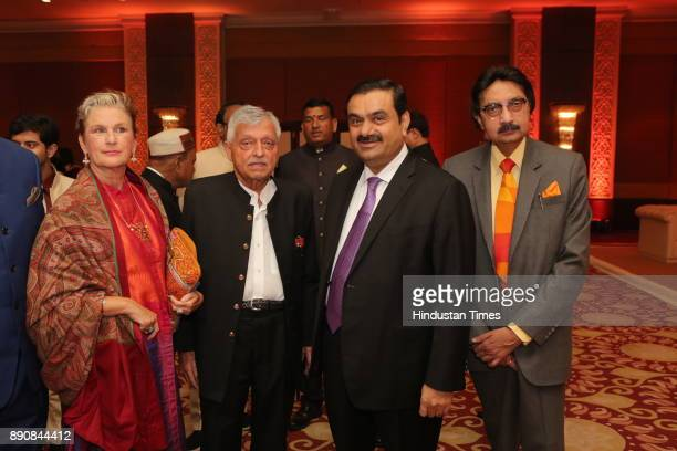 Senior Congress leader Satish Sharma along with industrialist Gautam Adani during wedding reception of Congress leader Vivek Tankha's daughter...