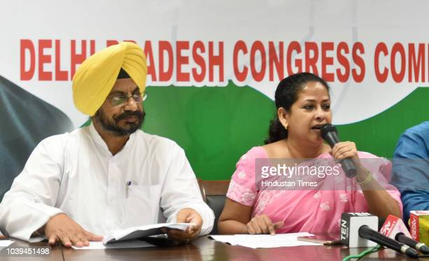 Senior Congress leader Sharmistha Mukherjee along with the others address the media on the issue of Rajaouri Garden BYE election and Bawana BYE...
