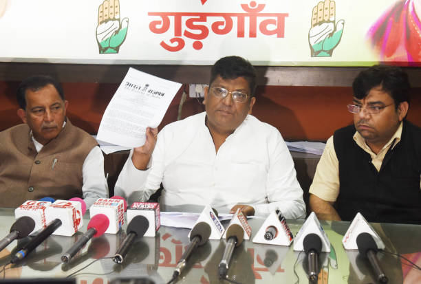 IND: Congress Leader Sudhir Choudhary Holds A Press Conference Regarding The Delay In Shifting Of Kherki Daula Toll Plaza