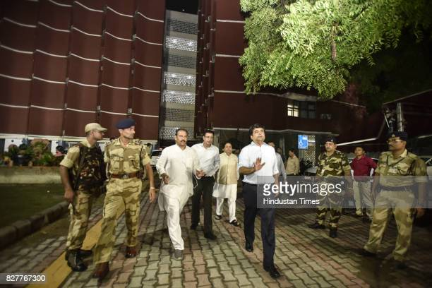 Senior Congress leaders Randeep Surjewala Rajeev Shukla and RPN Singh at Election Commission on August 8 2017 in New Delhi India 176 members of the...