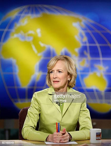 Senior Correspondent of PBS' The NewsHour with Jim Lehrer Judy Woodruff speaks during a taping of Meet the Press at the NBC studios August 3 2008 in...