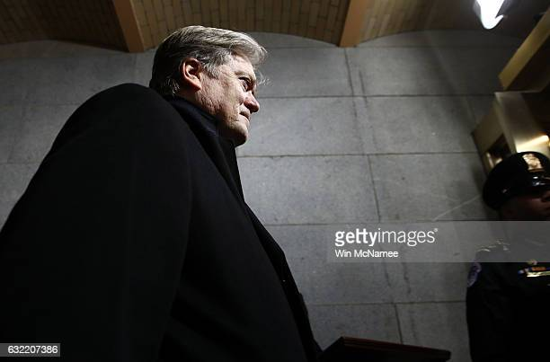Senior Counselor to the President Steve Bannon arrives before the presidential inauguration on the West Front of the US Capitol on January 20 2017 in...