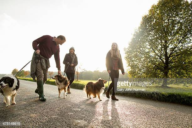 Senior couple and granddaughter with dogs, Norfolk, UK