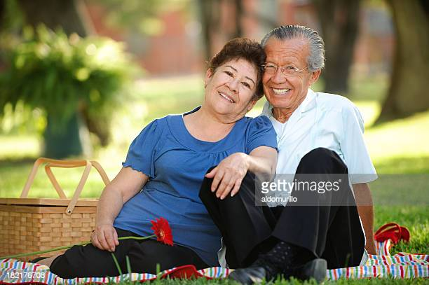 senior couple at a picnic - mexican picnic stock pictures, royalty-free photos & images
