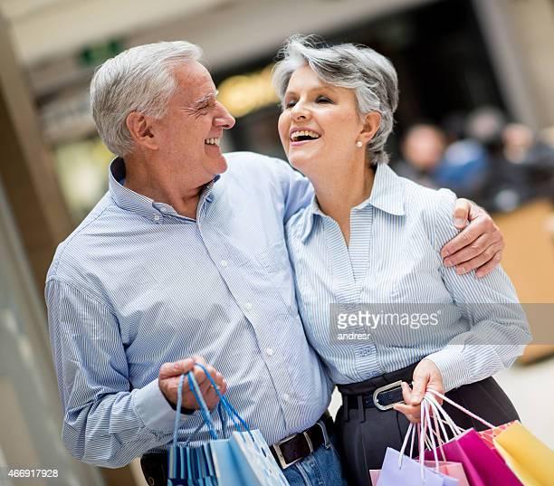 Senior couple at the shopping center
