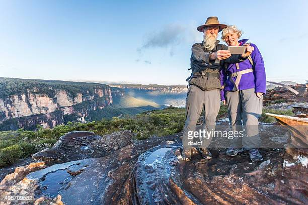 Senior Couple Bushwalker Selfie in Spectacular Landscape