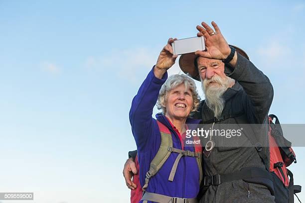 Senior Couple Bushwalker Selfie in Spectacular Landscape