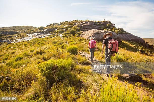 Senior Couple Bushwalking in Spectacular Blue Mountains Australian Landscape