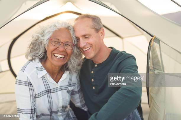 Senior Couple Camping in the Desert
