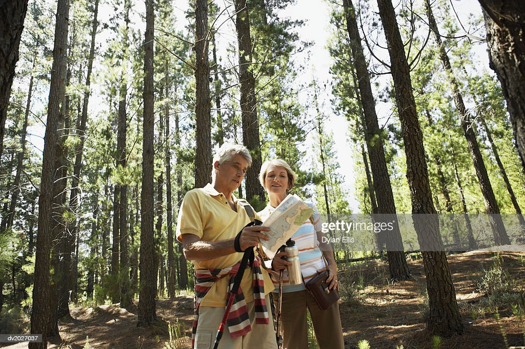 Senior Couple Checking a Map in a Wood : Stock Photo