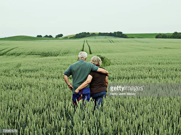 Senior couple embracing in field, rear view