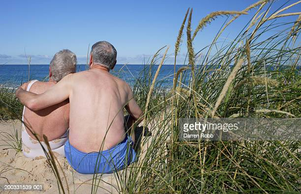 Senior couple embracing on sand dune looking out to sea, rear view