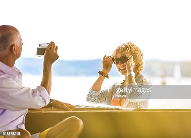 Senior couple enjoy at the holidays